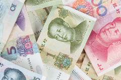 Chinese money background. Close up view as background Stock Photo