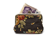 Chinese money in beautiful purse Stock Image
