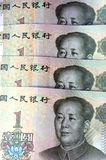 Chinese money and currency - Renminbi, one Yuan bills Royalty Free Stock Photography