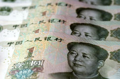 Chinese money and currency - Renminbi, one Yuan bills Royalty Free Stock Images