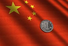 Chinese money on the flag. Abstract illustration Royalty Free Stock Photo