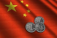 Chinese money on the flag. Abstract illustration Stock Photos
