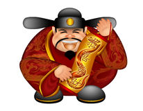 Chinese Money God Scroll Wishing Good Fortune. 2013 Chinese Prosperity Money God Holding Scroll with Text Wishing Happiness and Wealth with Golden Snake in royalty free illustration