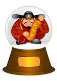 Chinese Money God in Water Snow Globe stock illustration