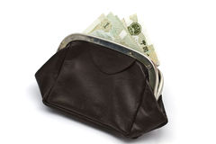 Chinese money in old purse Stock Images