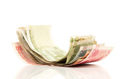 Chinese money paper bills. On white with clipping path Stock Photo