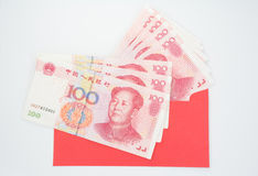 Chinese money. With red envelope royalty free stock photos