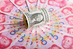 Chinese money rmb  banknote and American dollar Royalty Free Stock Photos