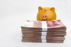 Chinese money (RMB). Chinese 100 RMB banknotes with a piggy bank behind Royalty Free Stock Images