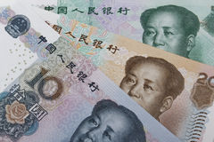 Chinese money (RMB). (10, 20 and 50 RMB note Royalty Free Stock Photos
