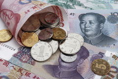 Chinese money (RMB). Chinese money (RMB) notes and coins. Business or holiday concept Stock Images