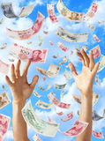 Chinese Money Yuan Falling Hands Sky. Chinese yuan money falling from the sky with a pair of hands reaching up Royalty Free Stock Photo