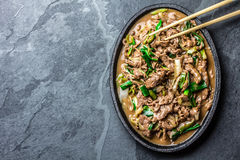 Chinese mongolian beef stir fry on iron plate Royalty Free Stock Image