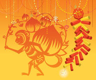 Chinese Monkey with Firecrackers background Royalty Free Stock Images