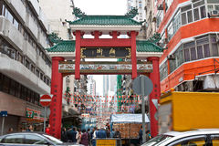 Chinese monumental archway of Temple Street Royalty Free Stock Photos