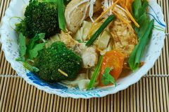 Chinese Moo Goo Gai Pan. Americanized version of a Cantonese dish,Moo Goo means mushroom, Gai means chicken and Pan means slices  in Cantonese Royalty Free Stock Images