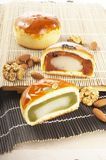 Chinese moon cake. Ese moon cake-- food for Chinese mid-autumn festival royalty free stock photo