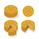Chinese Moon cake with floral pattern, vector Stock Photography