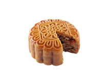Close-up single Chinese Moon Cake isolated on white background, traditional food or snack made from flour and stuffed with cereals. Traditional food or snack stock images