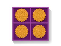 Chinese moon cake in gift box, top view, vector. Design Royalty Free Stock Images