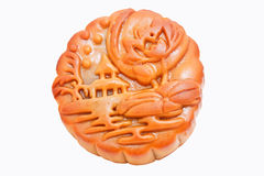 Chinese Moon Cake islated on white Stock Photo