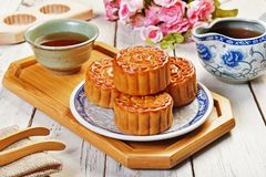 Chinese moon cake. Moon cake and tea,Chinese mid autumn festival food royalty free stock photography