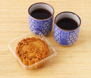 Chinese moon cake and tea Stock Photo
