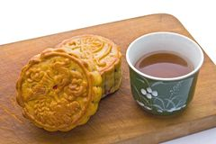 Chinese Moon Cake with tea Stock Photos
