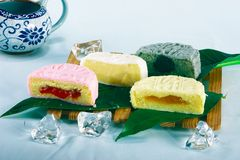 Chinese moon cake and tea Stock Photos