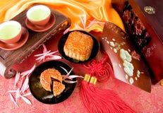 Chinese moon cake and tea stock photo