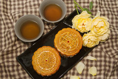 Chinese moon cake with tea Stock Photo