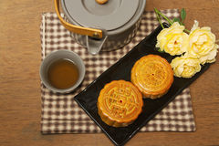Chinese moon cake with tea ceremony royalty free stock photography