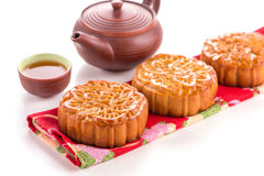 Chinese moon cake with tea ceremony Stock Image