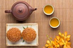 Chinese moon cake with tea ceremony Stock Photo