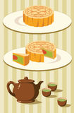 Chinese moon cake and tea for Mid autumn festival Stock Photo
