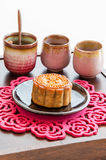 Chinese Moon Cake with tea. Stock Photos