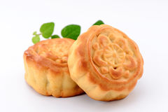 Chinese moon cake with vanilla -- food for Chinese mid-  autumn festival isolated on white background Stock Image