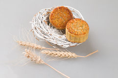 Chinese Moon Cakes and wheat Royalty Free Stock Images