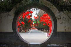 Chinese moon door with Lantern on tree royalty free stock photos