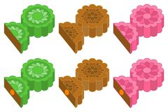 Chinese Mooncake for mid autumn festival in various taste and flavor Royalty Free Stock Image