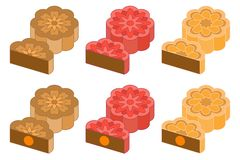 Chinese Mooncake for mid autumn festival in various taste and flavor Royalty Free Stock Images