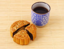 Chinese mooncake and tea cup Stock Photo