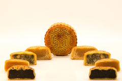 Chinese mooncakes cut open Royalty Free Stock Image
