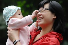 Chinese mother and baby Stock Photo