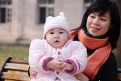 Chinese mother and baby Royalty Free Stock Photos