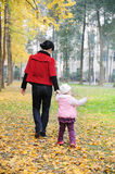 Chinese mother and baby in autumn. Chinese mother and baby in the park Royalty Free Stock Photos