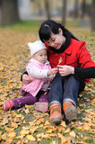 Chinese mother and baby in autumn Royalty Free Stock Image