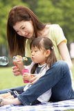 Chinese Mother With Daughter In Park Royalty Free Stock Image