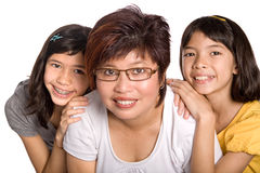 Chinese mother with her two beautiful daughter. Stock Photo