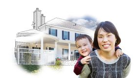 Chinese Mother and Mixed Race Child In Front of House Drawing on. White stock photos